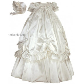 Sarah Louise 001144 Ivory Silk Bo Peep Christening Gown & Bonnet Set