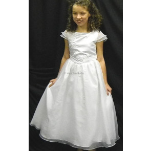 Sarah Louise 7014 White Embroidered Sequin Communion Dress