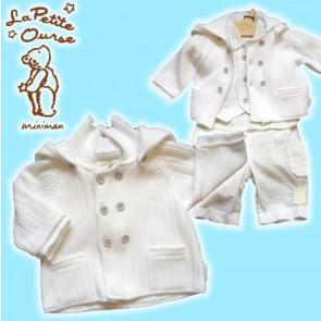 La Petite Ourse 25504 Miniman Petite White Ribbed Cardigan