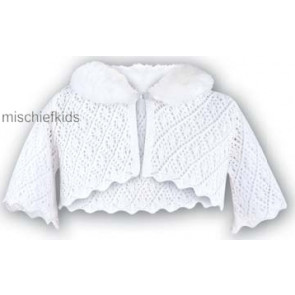 Sarah Louise 006 7180 Crochet  Removable Fur Collar Bolero Cardigan IVORY
