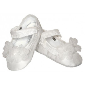Sarah Louise 401 Flower and Pearl Trim Pram Shoe IVORY