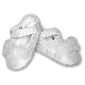 Sarah Louise 401 Flower and Pearl Trim Pram Shoe WHITE