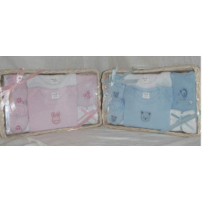 NEWBORN 25953b Blue 7 Piece Basket Gift Set