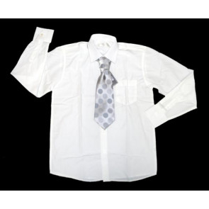 Sebastian Le Blanc EB002w White Shirt and Grey Tie Set