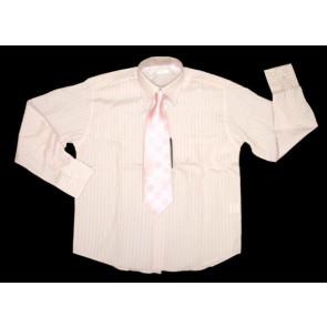 Sebastian Le Blanc EB002p Pink Stripe Shirt and Tie Set