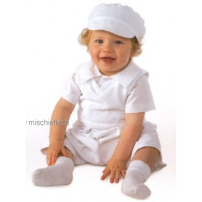 Little Darlings A3073 Oliver White Boy Christening Romper and Tanktop Set