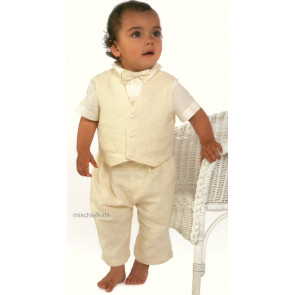 Little Darlings A4239 Maxwell Cream Waistcoat, Shirt, Shorts and Bow Tie Set