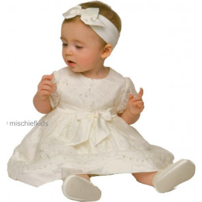 Little Darlings D9007 Mirabel Silk Dress and Headband IVORY