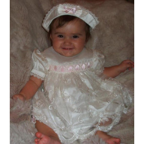 Little Darlings BS9008 Chloe Silk Christening Bloomer Set PINK