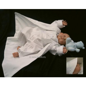 OCCASIONS CASPER White Boys Christening Romper and Coat and Hat Set SMALL FIT