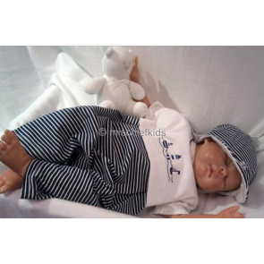 Emile et Rose 27100 7155 Navy Romper and Sun Hat Set