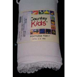 Country Kids 1472 Lace Trim Footless Tights/Leggings WHITE