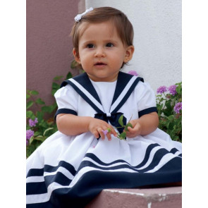 Sarah Louise 0107877 Sailor Dress WHITE/NAVY