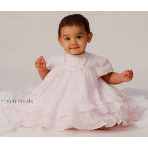 Sarah Louise 0107275 Frilly Layered Baby Dress & Bonnet PINK