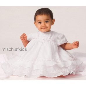 Sarah Louise 0107275 Frilly Layered Baby Dress & Bonnet WHITE