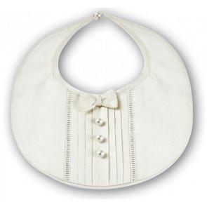 Sarah Louise 306 Ivory Silk Bow Tie Bib