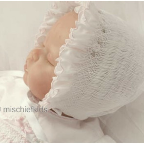 Sarah Louise 602 White Smocked Bonnet