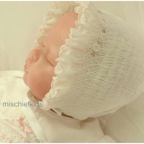 Sarah Louise 003602 Smocked Bonnet IVORY