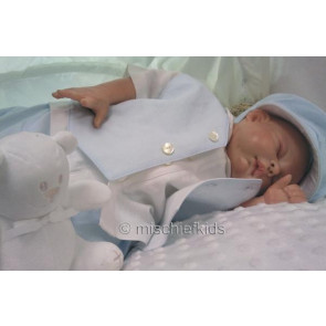 Emile et Rose 9418 27102 Blue and Ivory Linen 4 piece Waistcoat Shirt, Shorts and Hat Set