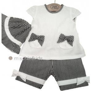 Emile et Rose 27109 Navy and White Top, Shorts and Hat Set
