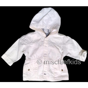 Eliane et Lena 27711 Boys Sample White Hooded Jacket BROUSSE