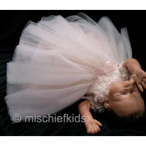 Kate Mack KM330i Precious Heirloom Ivory Pink Tulle Dress