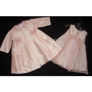 Kate Mack KM107 First Blush Pink Silk Coat and Dress Set