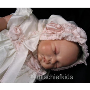 Kate Mack KM329 Precious Heirloom Silk Roses Christening Gown and Bonnet IVORY/PINK