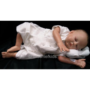 Kate Mack MACK S Cherished Heirloom Boys White Silk Short Leg Romper