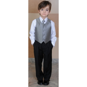 OCCASIONS DANIEL and DAN A406X Gunmetal or Silver Stripe Waistcoat Suit