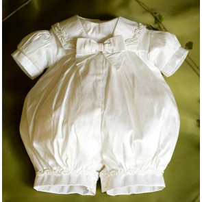 Angels and Fishes CHERUB Ivory Silk Boys Premature Romper