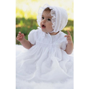 Sarah Louise 010181 Smock Christening Dress & Bonnet WHITE