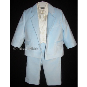 Sarah Louise 002245 Blue and Ivory Five Piece Velvet Suit