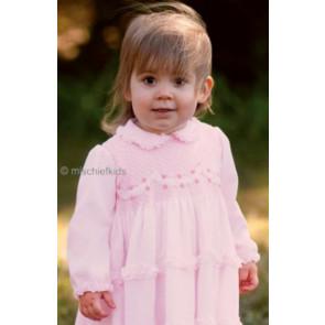 Sarah Louise 0107539 Cotton Voile Smocked Dress PINK