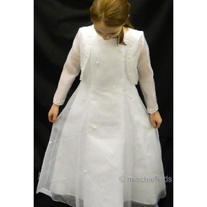 OCCASIONS AVA White Organza Communion Dress and Bolero Jacket SPECIAL PRICE