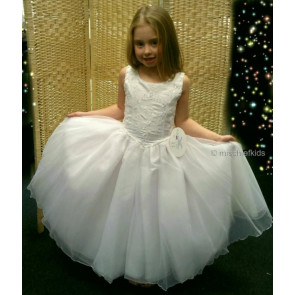 OCCASIONS Anna White Embroidered Bodice Tulle Communion Dress