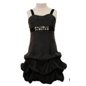 Kate Mack 29131 Black Ruched Puffball Dress