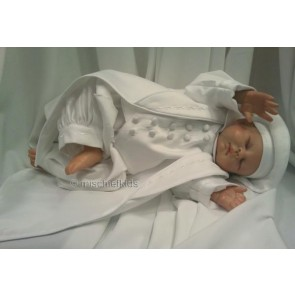 OCCASIONS FINIAN White Boys Christening Romper and Tails Coat and Hat Set