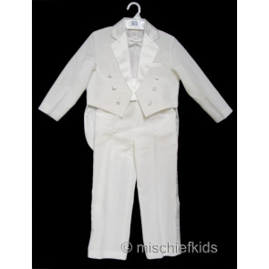 OCCASIONS JAMES Boys 6 Piece Tailed Tuxedo Suit WHITE