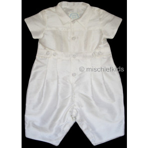 Kate Mack MACK L Cherished Heirloom Boys White Silk Long Leg Romper