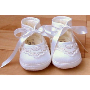 Collins and Hall SH046 Whisper Pink Silk Gold Lace Pram Shoes