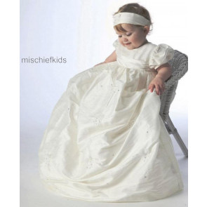 Little Darlings G9010 Tamara Ivory Silk Christening Robe Set IVORY