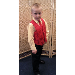 OCCASIONS FREDDIE Red and Cream Four Piece Waistcoat Suit