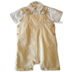 Sarah Louise 010 7741 Dungarees & Shirt WHITE/BEIGE