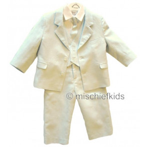 Sarah Louise 002246 Five Piece Linen and Cotton Boys Suit IVORY/WHITE