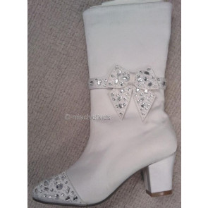 Little People 4100 BETSY White Sparkle kitten heel Calf Boots