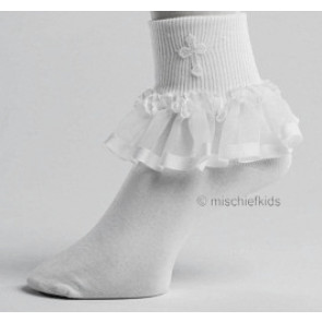 OCCASIONS A9040X White Frill Cross Ankle Socks