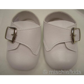 Frazer and James S004 Buckle Pram Shoes WHITE