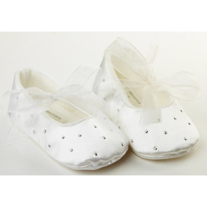 Frazer and James S017 Ivory Satin Sparkle Ballerina Pram Shoes
