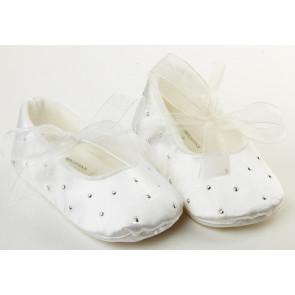 Frazer and James S017 Ivory Satin Sparkle Ballerina Pram Shoes